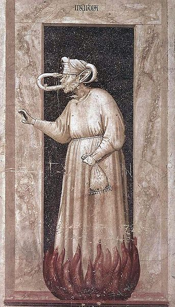 Giotto di Bondone, przedstawienie zawiści z fresku w kaplicy Scovegnich w Padwie (1306 r.)