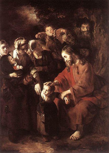 """""""Chrystus błogosławiący dzieci"""" (Nicoales Maes, 1652 lub 1653 rok)"""