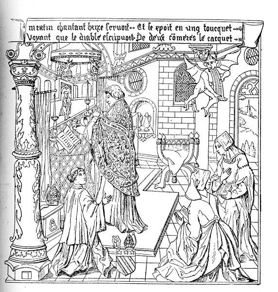 Celebracja mszy świętej (drzeworyt z XIV w.)