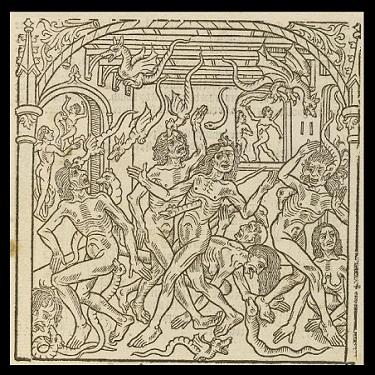 """""""Dusze dręczone przez węże"""", fragment """"Kalendarza pasterzy"""" (XV–XVI wiek)"""