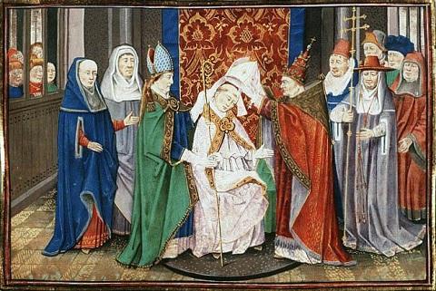 Święty Hubert z Liège otrzymuje sakrę biskupią od papieża Sergiusza, pergamin, 1463 rok