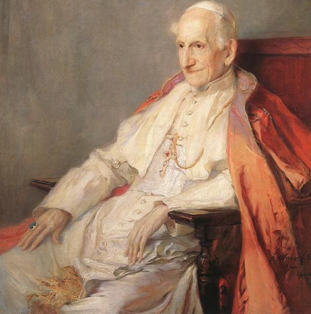 Portret papieża Leona XIII, autora encykliki Rerum novarum