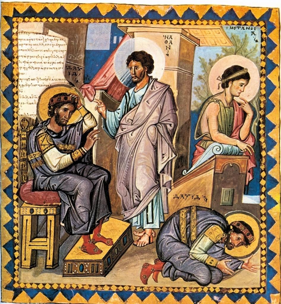 Natan napomina Dawida, fragment psałterza z Francuskiej Biblioteki Narodowej (plik w domenie publicznej)
