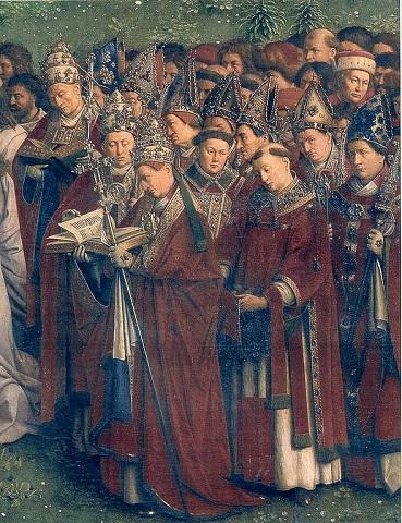 Papieże i biskupi – fragment Ołtarza Gandawskiego (Hubert i Jan van Eyckowie, 1432 rok)