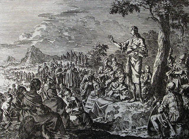 Nauczanie św. Jana Chrzciciela – ilustracja z kolekcji biblijnej Philipa Medhursta